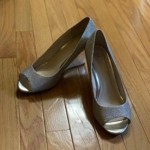 Sparkly Silver Open Toed Wedges